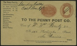 Sale Number 896, Lot Number 597, California Local PostsCalifornia Penny Post Co., San Francisco, 7c Vermilion on 3c Red on Buff Entire (34LU7), California Penny Post Co., San Francisco, 7c Vermilion on 3c Red on Buff Entire (34LU7)
