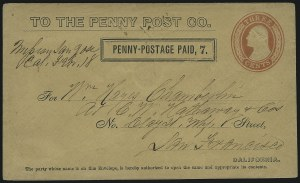 Sale Number 896, Lot Number 600, California Local PostsCalifornia Penny Post Co., San Francisco, 7c Black on 3c Red on Buff Entire (34LU11a), California Penny Post Co., San Francisco, 7c Black on 3c Red on Buff Entire (34LU11a)