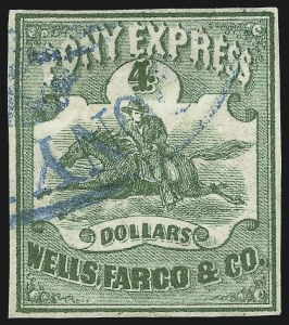 Sale Number 896, Lot Number 617, The Pony ExpressWells, Fargo & Co. Pony Express, $4.00 Green (143L2), Wells, Fargo & Co. Pony Express, $4.00 Green (143L2)