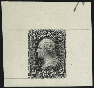 Sale Number 900, Lot Number 245, 1861-66 Issue (National Bank Note Co.)3c Black, Large Die Trial Color Proof on India (65TC1), 3c Black, Large Die Trial Color Proof on India (65TC1)