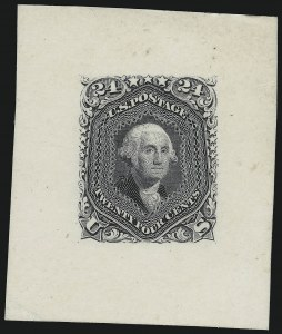 Sale Number 900, Lot Number 251, 1861-66 Issue (National Bank Note Co.)24c Dark Violet, 1861 Issue, Large Die Trial Color Proof on India (70TC1), 24c Dark Violet, 1861 Issue, Large Die Trial Color Proof on India (70TC1)