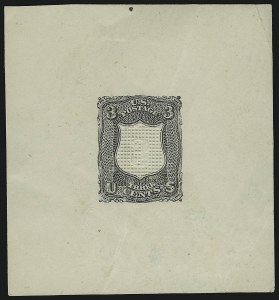 Sale Number 900, Lot Number 275, 1867-68 Grilled Issue (National Bank Note Co.)3c Black, Shield-Shaped Die Essay on Thick White Paper (79-E18a), 3c Black, Shield-Shaped Die Essay on Thick White Paper (79-E18a)
