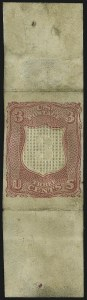 Sale Number 900, Lot Number 276, 1867-68 Grilled Issue (National Bank Note Co.)3c Deep Pink, Shield-Shaped Die Essay on Thick White Paper (79-E18a), 3c Deep Pink, Shield-Shaped Die Essay on Thick White Paper (79-E18a)