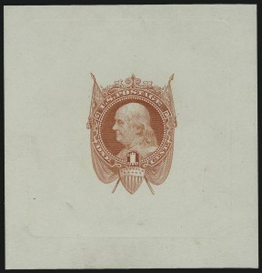 Sale Number 900, Lot Number 310, 1869 Pictorial Issue (National Bank Note Co.)1c Scarlet, Die Essay on White Ivory (112-E5b), 1c Scarlet, Die Essay on White Ivory (112-E5b)