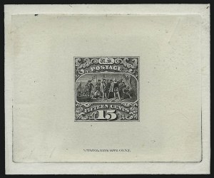 Sale Number 900, Lot Number 334, 1869 Pictorial Issue (National Bank Note Co.)15c Black, Large Die Trial Color Proof on India (118TC1), 15c Black, Large Die Trial Color Proof on India (118TC1)