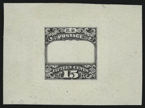 Sale Number 900, Lot Number 335, 1869 Pictorial Issue (National Bank Note Co.)15c Black, Ty. II, Frame Only Essay on India (119-E1a), 15c Black, Ty. II, Frame Only Essay on India (119-E1a)