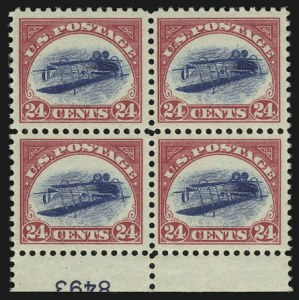 Sale Number 901, Lot Number 1, The Unique Inverted Jenny Plate Block24c Carmine Rose & Blue, Center Inverted (C3a), 24c Carmine Rose & Blue, Center Inverted (C3a)