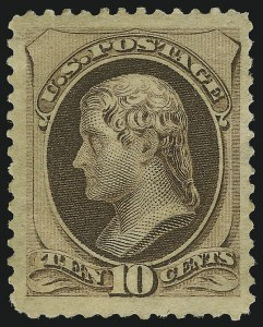 Sale Number 904, Lot Number 157, 1870-88 Bank Note Issues (Scott 179-218)10c Brown, With Secret Mark (188), 10c Brown, With Secret Mark (188)