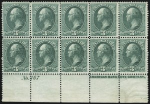 Sale Number 904, Lot Number 170, 1870-88 Bank Note Issues (Scott 179-218)3c Blue Green, Douglas 8-Hole Patent Punch (207 var), 3c Blue Green, Douglas 8-Hole Patent Punch (207 var)