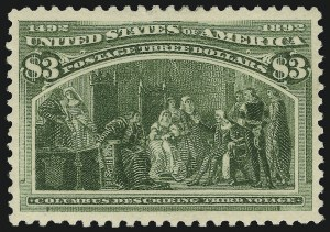Sale Number 904, Lot Number 229, 1893 Columbian Issue$3.00 Olive Green Columbian (243a), $3.00 Olive Green Columbian (243a)