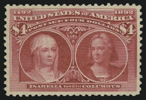 Sale Number 904, Lot Number 230, 1893 Columbian Issue$4.00 Columbian (244), $4.00 Columbian (244)