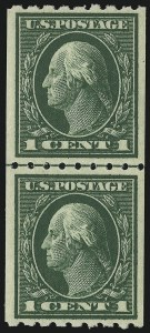 Sale Number 904, Lot Number 399, 1908-23 Issues (Scott 405 thru 420)1c Green, Coil (410), 1c Green, Coil (410)