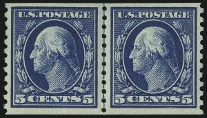 Sale Number 904, Lot Number 420, 1908-23 Issues (Scott 405 thru 420)5c Blue, Coil (447), 5c Blue, Coil (447)