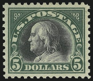 Sale Number 904, Lot Number 458, 1908-23 Issues (Scott 519 thru 634A)$5.00 Deep Green & Black (524), $5.00 Deep Green & Black (524)