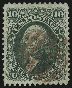 Sale Number 904, Lot Number 62, 1861-66 Issue10c Yellow Green (68), 10c Yellow Green (68)