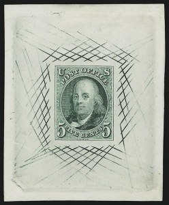 Sale Number 905, Lot Number 1002, Essays and Proofs5c Blue Green, Large Die Trial Color Proof on India (1TC1), 5c Blue Green, Large Die Trial Color Proof on India (1TC1)