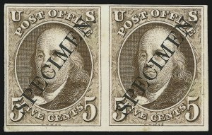"Sale Number 905, Lot Number 1003, Essays and Proofs5c Red Brown, Plate Proof on India, Diagonal Black ""Specimen"" Ovpt. (1P3 var), 5c Red Brown, Plate Proof on India, Diagonal Black ""Specimen"" Ovpt. (1P3 var)"