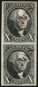 "Sale Number 905, Lot Number 1005, Essays and Proofs10c Black, Plate Proof on India, Diagonal Red ""Specimen"" Ovpt. (2P3 var), 10c Black, Plate Proof on India, Diagonal Red ""Specimen"" Ovpt. (2P3 var)"