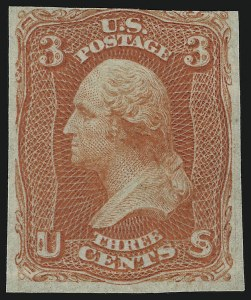 Sale Number 905, Lot Number 1017, Essays and Proofs3c Scarlet, Imperforate (74a), 3c Scarlet, Imperforate (74a)