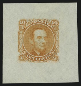 Sale Number 905, Lot Number 1043, Essays and Proofs10c Lincoln, Orange,Die Essay on Pink Bond (116-E1g), 10c Lincoln, Orange,Die Essay on Pink Bond (116-E1g)