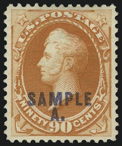 "Sale Number 905, Lot Number 1094, Specimens (see Officials section also)1c-90c 1879-87 Issues, ""Sample"" and ""Sample A"" Overprints (189/212SK, SL), 1c-90c 1879-87 Issues, ""Sample"" and ""Sample A"" Overprints (189/212SK, SL)"