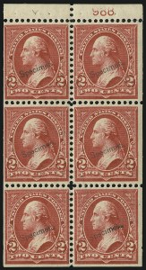 "Sale Number 905, Lot Number 1107, Specimens (see Officials section also)2c Red, Ty. IV, Booklet Pane of Six, ""Specimen"" Ovpt., Ty. E (279BeS), 2c Red, Ty. IV, Booklet Pane of Six, ""Specimen"" Ovpt., Ty. E (279BeS)"