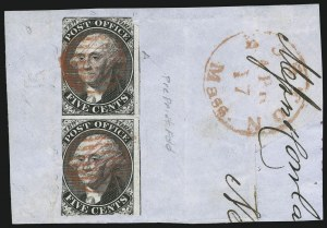 "Sale Number 905, Lot Number 1118, PostmastersNew York N.Y., 5c Black, ""ACM"" Initials (9X1), New York N.Y., 5c Black, ""ACM"" Initials (9X1)"