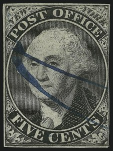 Sale Number 905, Lot Number 1120, PostmastersNew York N.Y., 5c Black, Without Signature (9X1e), New York N.Y., 5c Black, Without Signature (9X1e)