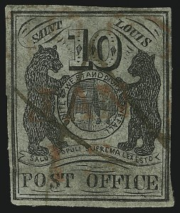 Sale Number 905, Lot Number 1127, PostmastersSt. Louis Mo., 10c Black on Greenish (11X2), St. Louis Mo., 10c Black on Greenish (11X2)