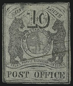 Sale Number 905, Lot Number 1128, PostmastersSt. Louis Mo., 10c Black on Gray Lilac (11X5), St. Louis Mo., 10c Black on Gray Lilac (11X5)