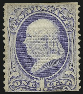 Sale Number 905, Lot Number 1754, 1870-88 Bank Note Issues (National Grills, Scott 134 thru 144)1c Ultramarine, Grill, Points Down (134 var), 1c Ultramarine, Grill, Points Down (134 var)
