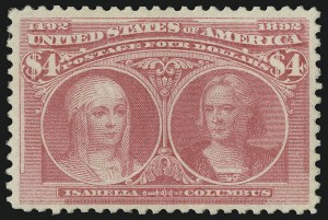 Sale Number 905, Lot Number 2077, 1893 Columbian Issue$4.00 Rose Carmine, Columbian (244a), $4.00 Rose Carmine, Columbian (244a)