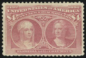 Sale Number 905, Lot Number 2079, 1893 Columbian Issue$4.00 Rose Carmine, Columbian (244a), $4.00 Rose Carmine, Columbian (244a)