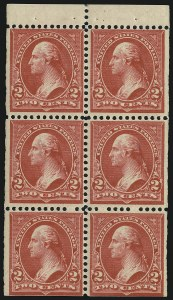 Sale Number 905, Lot Number 2186, 1894-98 Bureau Issues (Scott 264 thru 284)2c Orange Red, Ty. III, Booklet Pane of Six (279Be), 2c Orange Red, Ty. III, Booklet Pane of Six (279Be)