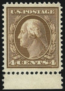 Sale Number 905, Lot Number 2381, 1908-09 Washington-Franklin Issues (Scott 331 thru 356)4c Orange Brown (334), 4c Orange Brown (334)
