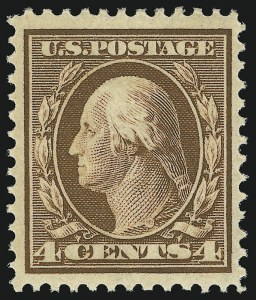 Sale Number 905, Lot Number 2382, 1908-09 Washington-Franklin Issues (Scott 331 thru 356)4c Orange Brown (334), 4c Orange Brown (334)