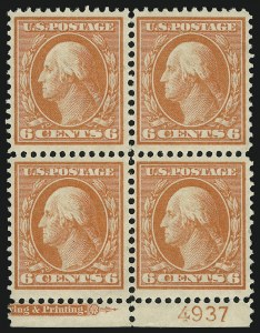 Sale Number 905, Lot Number 2386, 1908-09 Washington-Franklin Issues (Scott 331 thru 356)6c Red Orange (336), 6c Red Orange (336)
