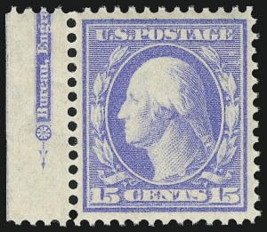 Sale Number 905, Lot Number 2390, 1908-09 Washington-Franklin Issues (Scott 331 thru 356)15c Pale Ultramarine (340), 15c Pale Ultramarine (340)