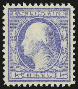 Sale Number 905, Lot Number 2391, 1908-09 Washington-Franklin Issues (Scott 331 thru 356)15c Pale Ultramarine (340), 15c Pale Ultramarine (340)