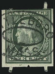 Sale Number 905, Lot Number 2400, 1908-09 Washington-Franklin Issues (Scott 331 thru 356)1c Green, Attleboro Stamp Co. Private Affixing-Machine Coil (343 var), 1c Green, Attleboro Stamp Co. Private Affixing-Machine Coil (343 var)