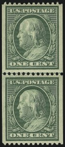 Sale Number 905, Lot Number 2404, 1908-09 Washington-Franklin Issues (Scott 331 thru 356)1c Green, Coil (348), 1c Green, Coil (348)