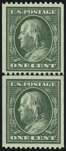 Sale Number 905, Lot Number 2405, 1908-09 Washington-Franklin Issues (Scott 331 thru 356)1c Green, Coil (348), 1c Green, Coil (348)