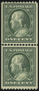 Sale Number 905, Lot Number 2406, 1908-09 Washington-Franklin Issues (Scott 331 thru 356)1c Green, Coil (348), 1c Green, Coil (348)