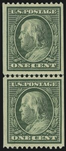 Sale Number 905, Lot Number 2408, 1908-09 Washington-Franklin Issues (Scott 331 thru 356)1c Green, Coil (348), 1c Green, Coil (348)