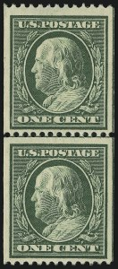 Sale Number 905, Lot Number 2409, 1908-09 Washington-Franklin Issues (Scott 331 thru 356)1c Green, Coil (348), 1c Green, Coil (348)