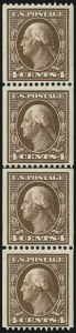 Sale Number 905, Lot Number 2412, 1908-09 Washington-Franklin Issues (Scott 331 thru 356)4c Orange Brown, Coil (350), 4c Orange Brown, Coil (350)