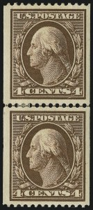 Sale Number 905, Lot Number 2413, 1908-09 Washington-Franklin Issues (Scott 331 thru 356)4c Brown, Coil (350), 4c Brown, Coil (350)