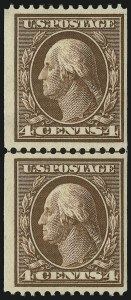 Sale Number 905, Lot Number 2414, 1908-09 Washington-Franklin Issues (Scott 331 thru 356)4c Orange Brown, Coil (350), 4c Orange Brown, Coil (350)