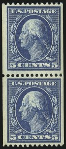 Sale Number 905, Lot Number 2417, 1908-09 Washington-Franklin Issues (Scott 331 thru 356)5c Blue, Coil (351), 5c Blue, Coil (351)