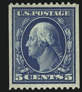 Sale Number 905, Lot Number 2419, 1908-09 Washington-Franklin Issues (Scott 331 thru 356)5c Blue, Coil (351), 5c Blue, Coil (351)